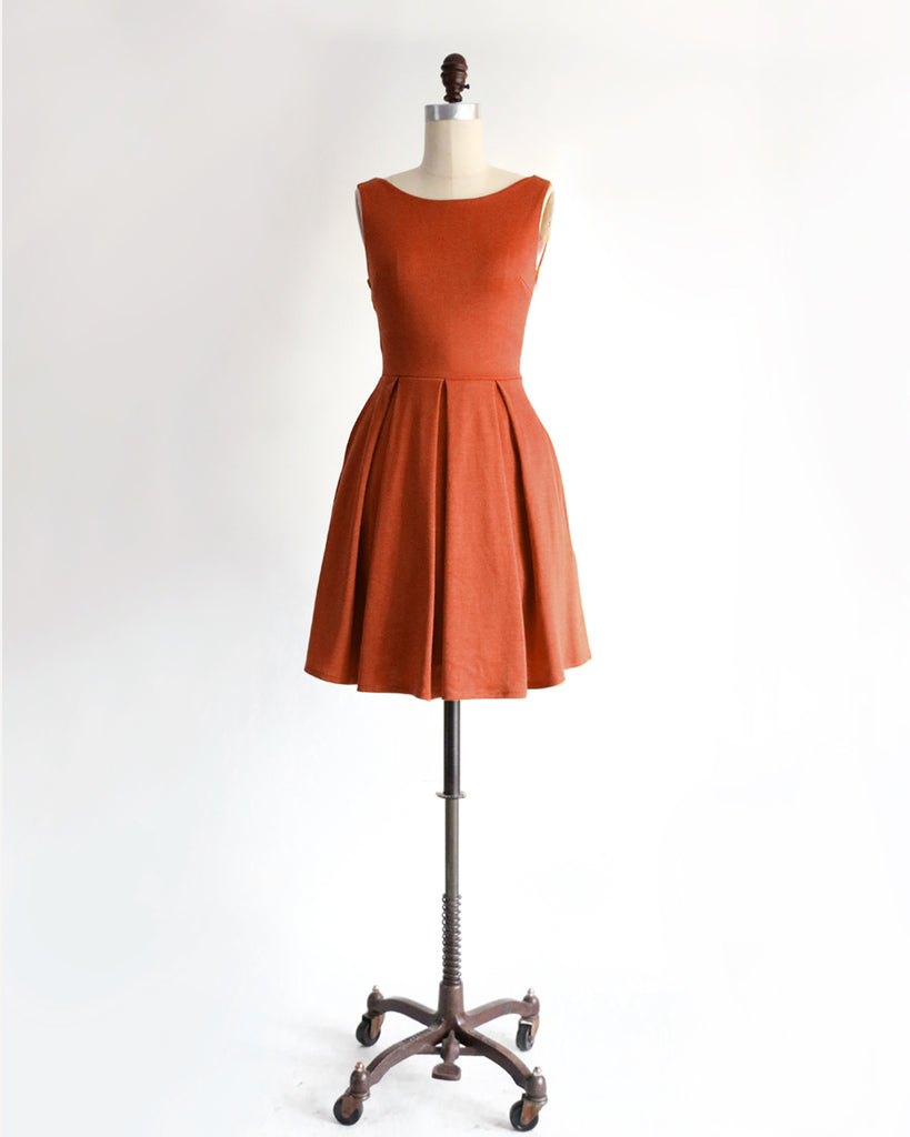 JANUARY | Rust short ponte fit + flare dress with back bow