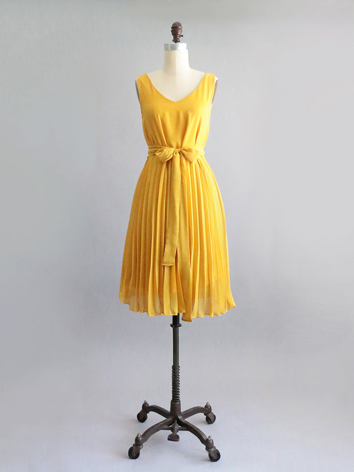 shop apricity | Eden Dress| Mustard yellow reversible pleated chiffon belted midi dress. midi yellow party dress. reversible yellow midi bridesmaid dress