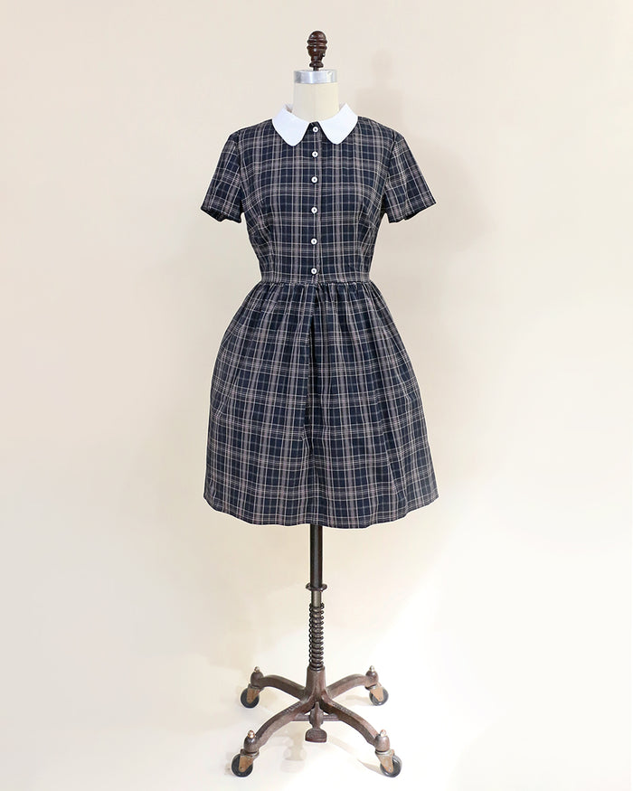 ACADEMY - Black plaid cotton shirtdress with removable white collar and short sleeves