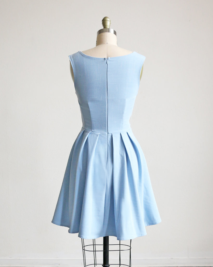 SUNDAY | Sky blue short fit + flare dress with collar
