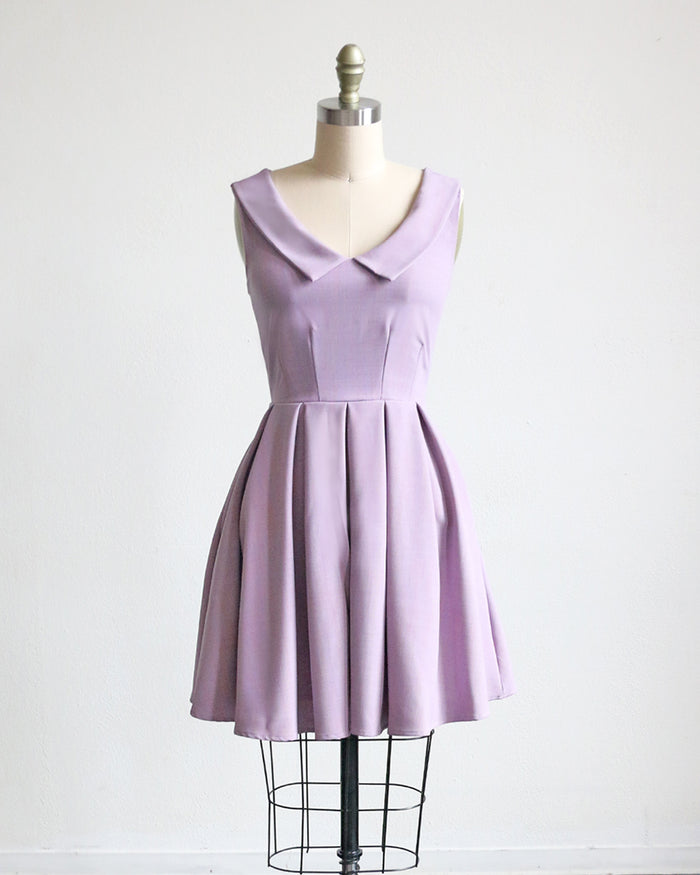 PRE-ORDER SUNDAY | Lavender retro style short dress with collar + pockets