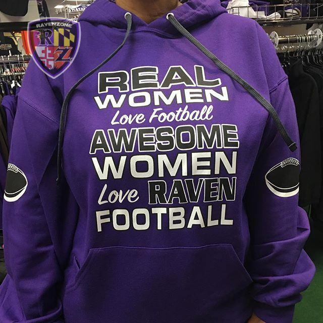 Real Women Footballs Sleeves Ravens Purple Hoody