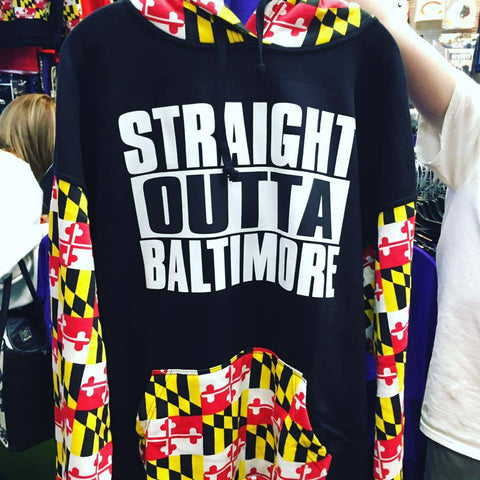 Straight Outta Baltimore Maryland State Flag Black Hooded Sweatshirt