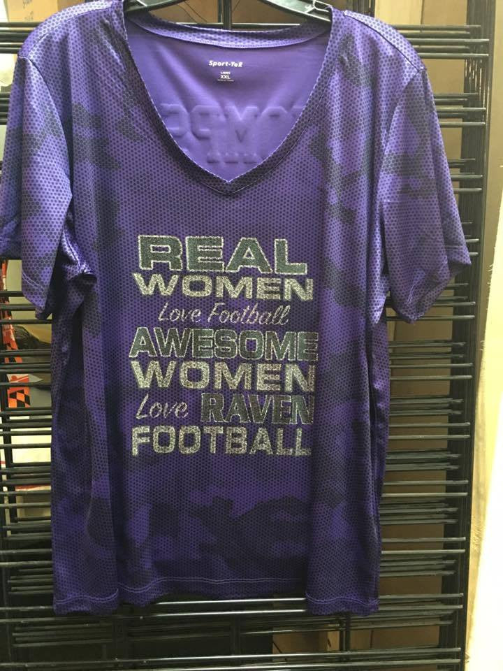 Custom Real Women Love Football Ravens Camo Ladies V T-Shirt