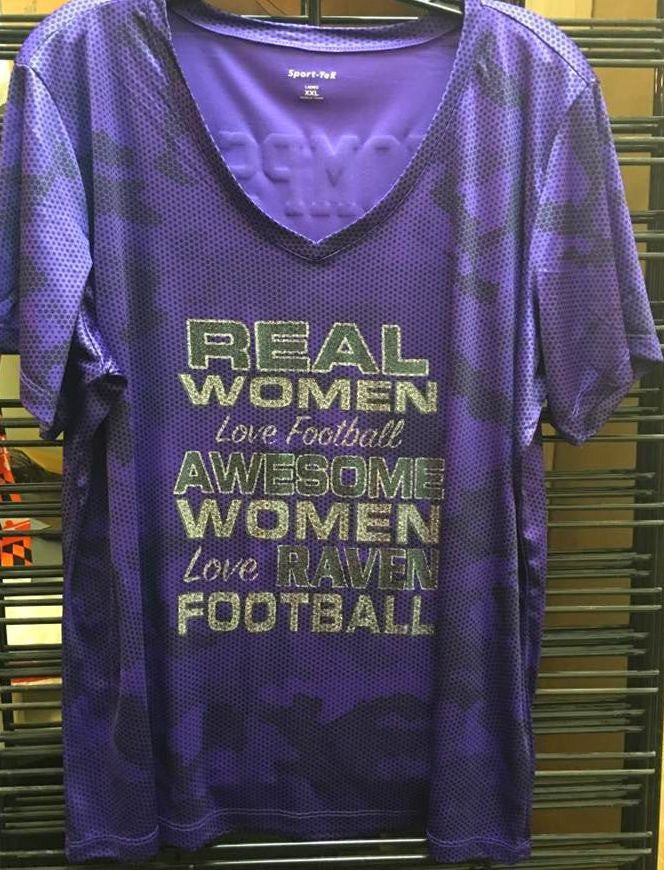 Real Women Love Football Ravens Glitter Camo Ladies V T-Shirt