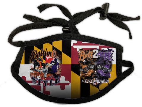 Baltimore Style Muscle on Russell Md Flag Design Mask