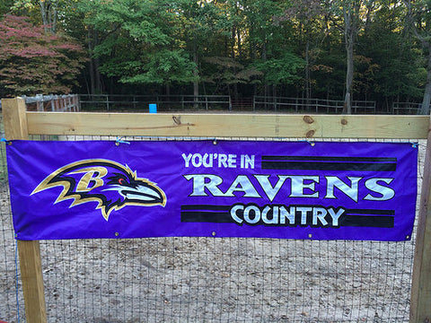 "Baltimore Ravens ""You're In Ravens Country"" Giant 8-Foot Applique and Embroidered Banner Flag"