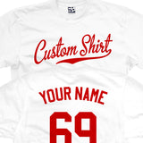 Custom Script with Personal Back T-Shirt - Baseball Tail Name and or Number