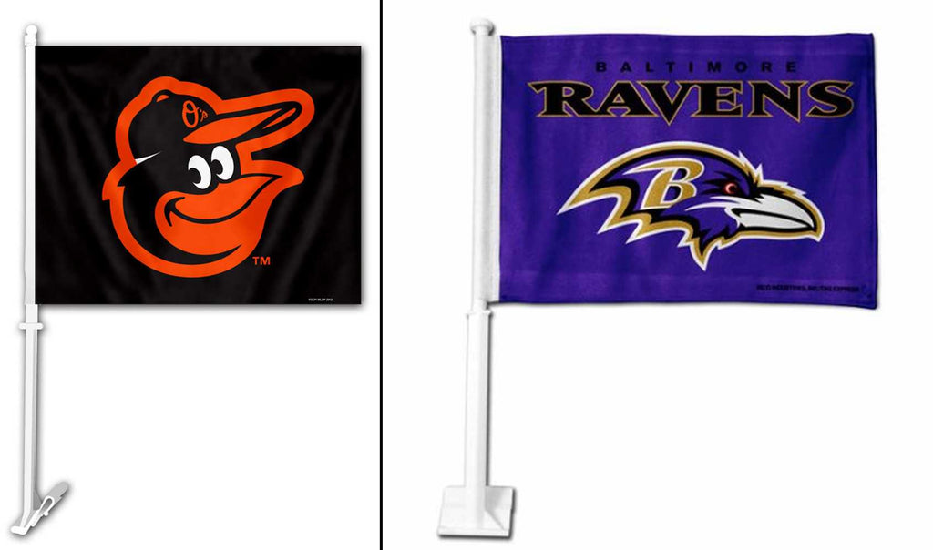 Baltimore Ravens and Orioles 2 Pack Car Flags