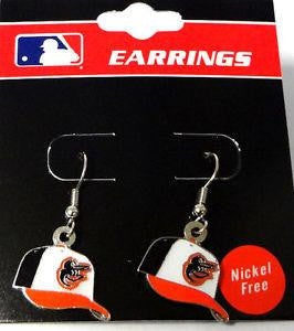 Baltimore Orioles Baseball Cap MLB Silver Dangle Earrings