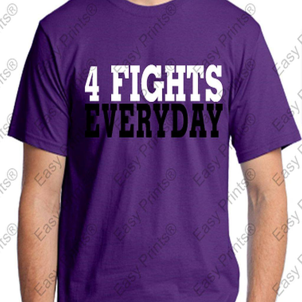 Ravens 4 Fights Everyday Purple Motivational T-Shirt