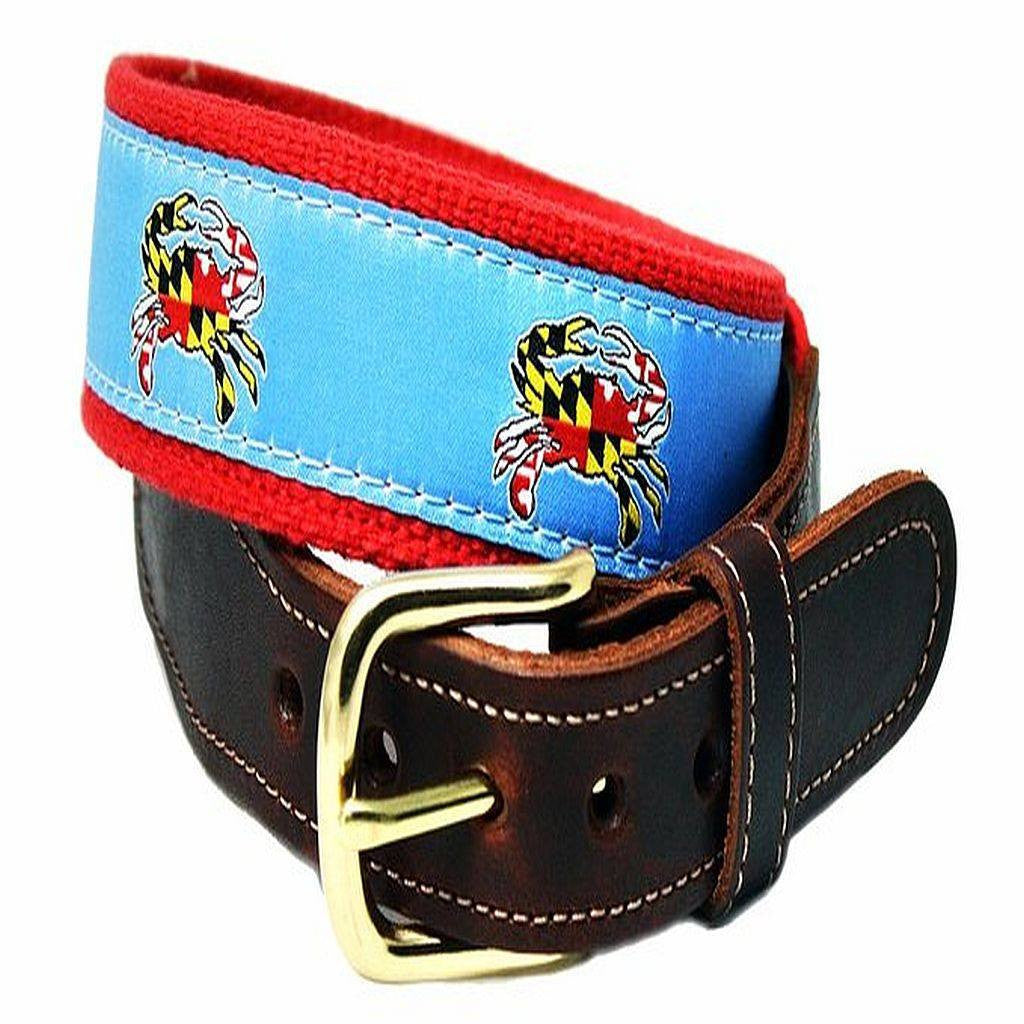 Charm City Crab Leather Tab Belt