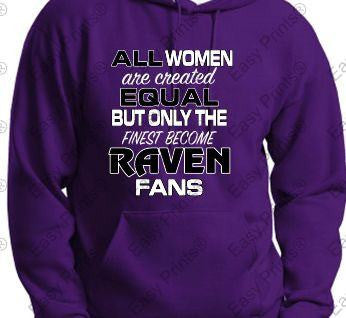 All Women are Created Equal Ravens Ladies Purple Hoody