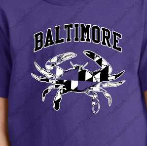 Baltimore Raven Crab Baby Sizes Purple Tshirt