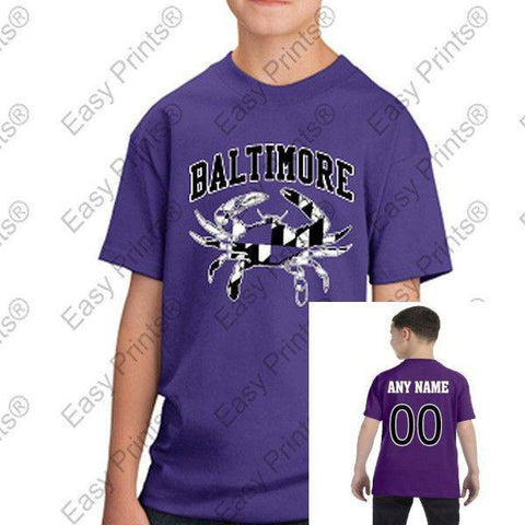 Custom Baltimore Maryland Flag Crab Black and White Kids Tshirt Purple