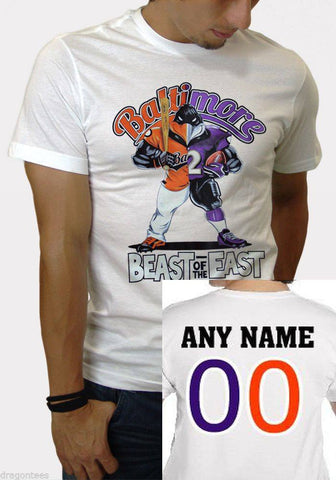 Custom Beast of The East Baltimore Orioles Ravens White Tshirt