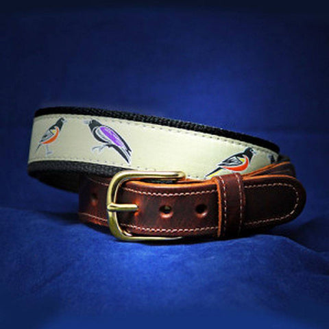Birds of Baltimore Belt – Orioles Ravens Leather Tab