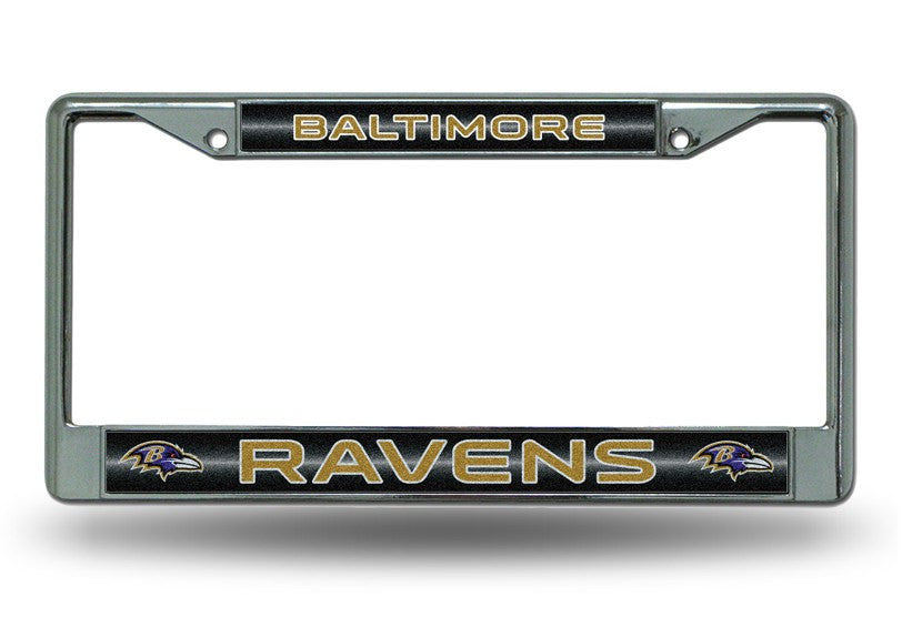 Baltimore Ravens NFL Bling Glitter Chrome License Plate Frame