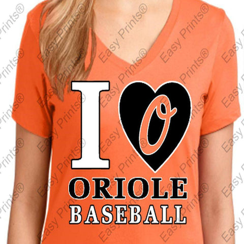 I Love Oriole Baseball Ladies Orange Orioles V T-Shirt