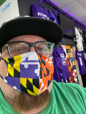 Maryland Flag Orioles & Ravens Colors Face Mask - Polyester & Mesh