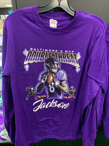 Double Threat MVP Purple Lamar Jackson Long Sleeve T-Shirt