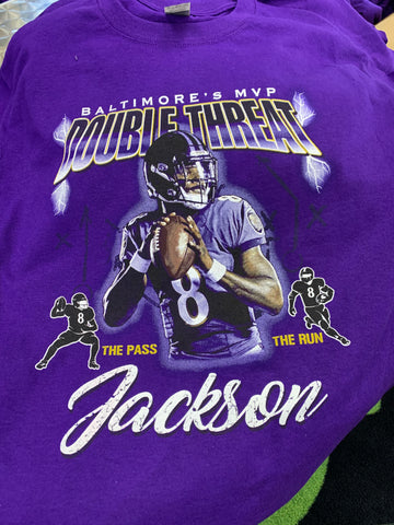Double Threat MVP Purple Lamar Jackson Short Sleeve T-Shirt