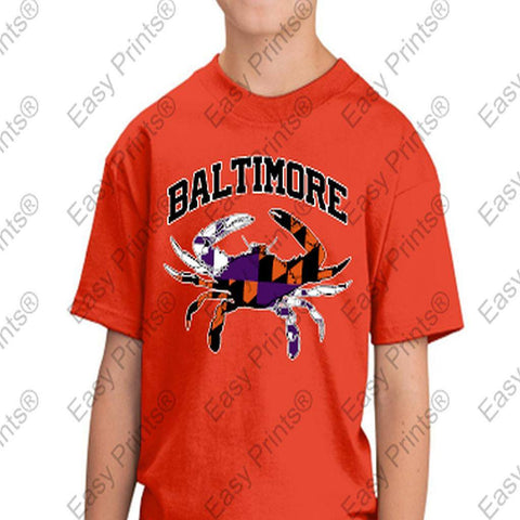 Baltimore Arch Flag Crab Ravens Orioles Colors Kids Tshirt Orange