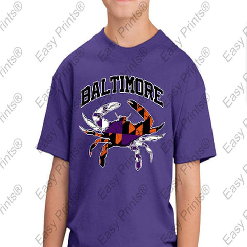 Baltimore Arch Flag Crab Ravens Orioles Colors Kids Tshirt Purple
