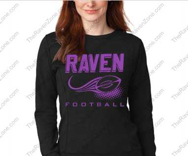 Ravens Football Glitter Print Ladies Black Crew Sweatshirt