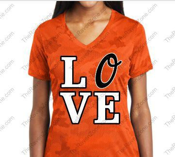 Love Orioles Orange Camo Ladies Sport-Tek V-Neck Tshirt