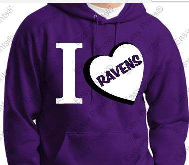 I LOVE Ravens Ladies Purple Hoody