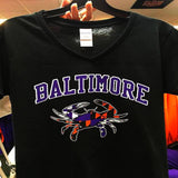 Custom Baltimore Maryland Flag Crab Ravens Orioles Colors Ladies V T-Shirt