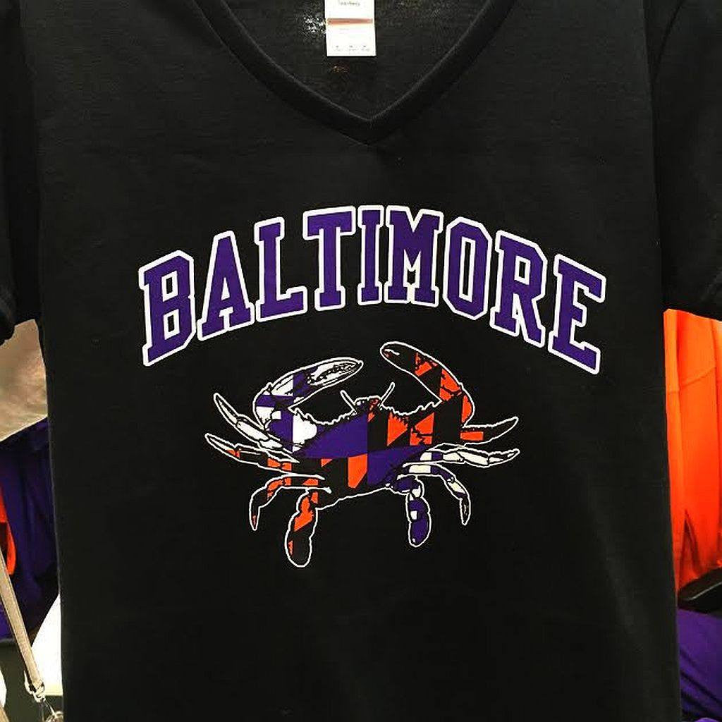 Baltimore Maryland Flag Crab Ravens Orioles Colors Ladies V T-Shirt