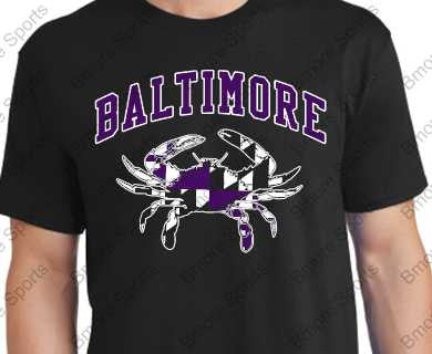 Baltimore Ravens Colors Md Flag Crab Tshirt
