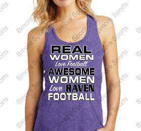 Real Women Love Ravens Football Ladies Perfect Racerback Tank