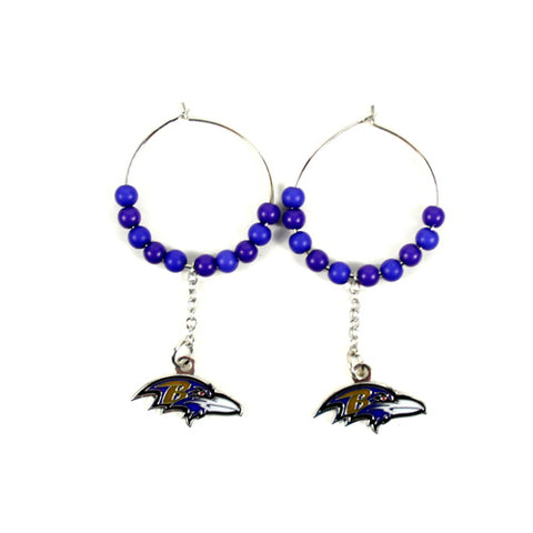 "Baltimore Ravens Earrings - 1"" Multi Bead Hoop Earrings"