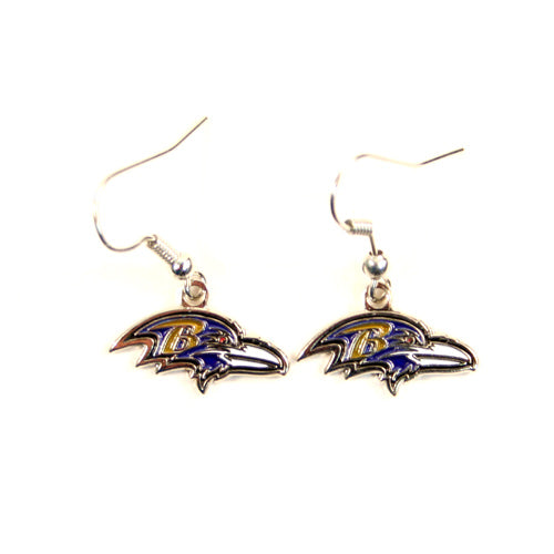 Baltimore Ravens Earrings - Gold Dangle Logo