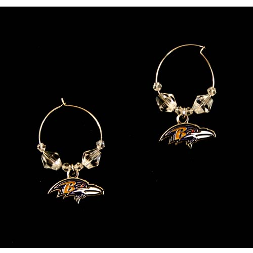 Baltimore Ravens Earrings - Clear Bead HOOP Style Dangle Earrings
