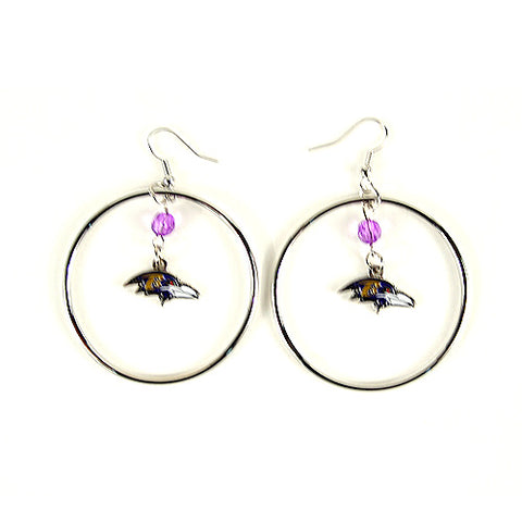 "Baltimore Ravens Earrings - 2"" Color Bead Hoop Earrings"