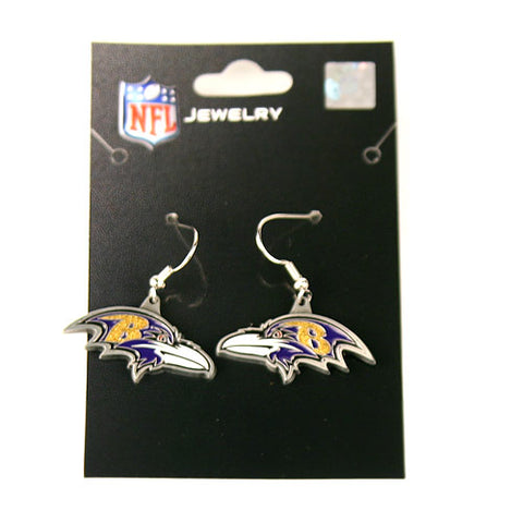 Baltimore Ravens Earrings - Silver Dangle