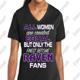 Custom All Women Are Created Equal Ravens Ladies V T-Shirt Purple or Black