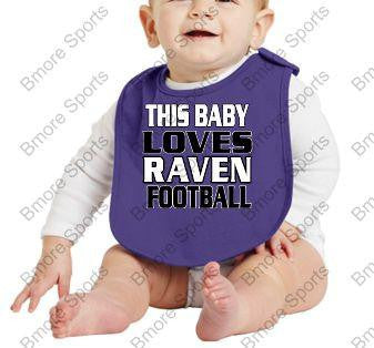 This Baby Loves Ravens Football Purple Bib