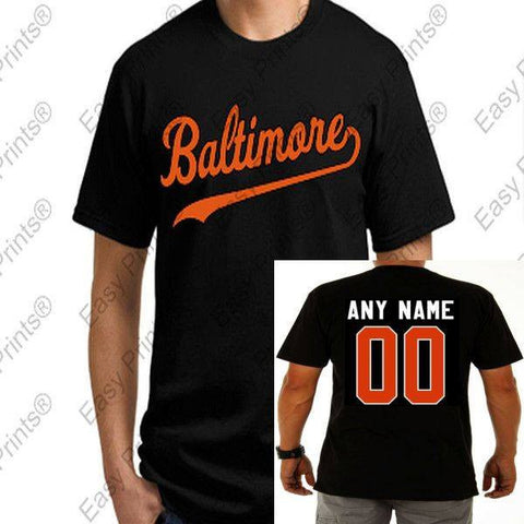 Custom Baltimore Baseball Script Black Orioles T-Shirt