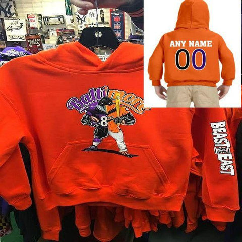 Custom Beast of The East Baltimore Ravens Orioles Kids Hoody