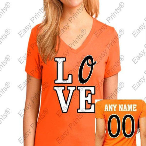 Custom Orioles Love Ladies Orange V T-Shirt