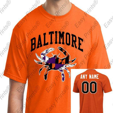 Custom Baltimore Maryland Crab Orioles Ravens Colors Tshirt Orange