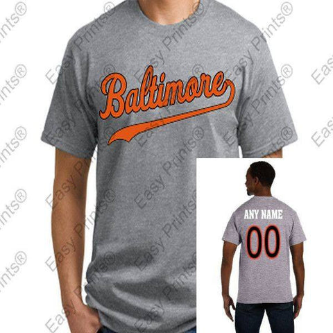 Custom Baltimore Baseball Script Gray Orioles T-Shirt