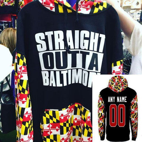 Custom Straight Outta Baltimore Maryland State Flag Black Hooded Sweatshirt