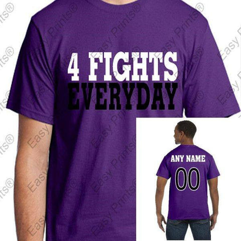 Custom 4 Fights Everyday Ravens Purple T-Shirt