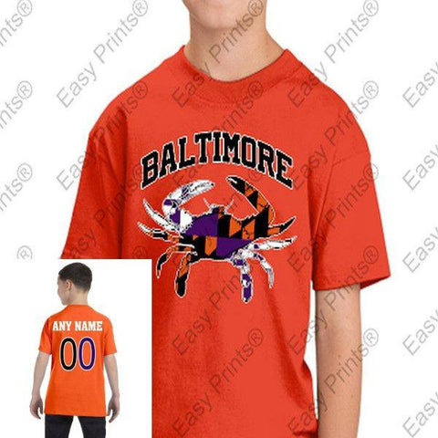 Custom Kids Baltimore Arch Flag Crab Ravens Orioles Colors Tshirt Orange